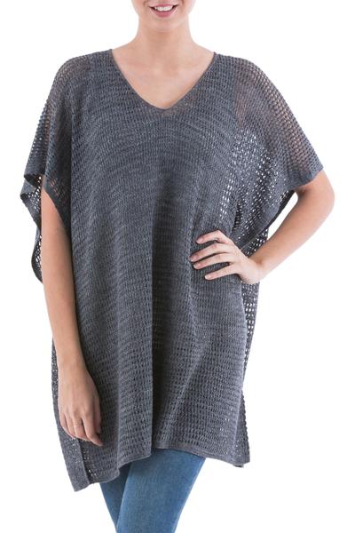 Knit tunic, 'Grey Dreamcatcher' - Grey Short Sleeve V Neck Tunic from Peru
