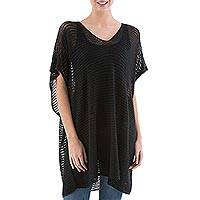 Knit tunic, 'Black Dreamcatcher' - Black Short Sleeve Tunic with V Neck