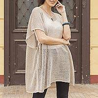 Knit tunic, 'Beige Dreamcatcher' - Beige Tunic with V Neck and Short Sleeves
