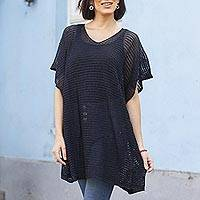Knit tunic, 'Navy Dreamcatcher' - Navy Tunic with V Neck and Short Sleeves