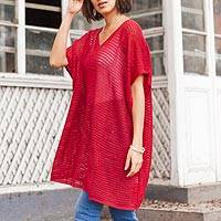 Knit tunic, 'Red Dreamcatcher' - Red Knit Tunic with V Neck and Short Sleeves