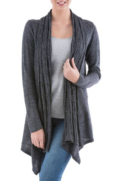 Cardigan sweater, 'Grey Waterfall Dream' - Long Sleeved Grey Cardigan Sweater from Peru