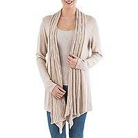 Cardigan sweater, 'Beige Waterfall Dream' - Long Sleeved Beige Cardigan Sweater from Peru