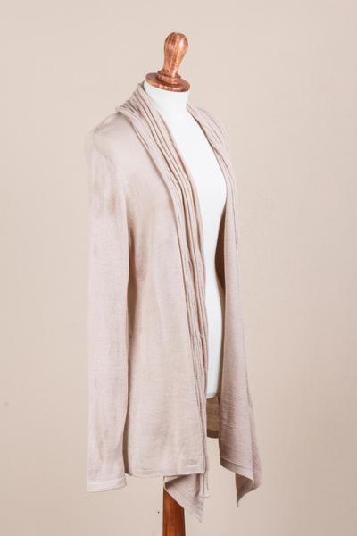 Long Sleeved Beige Cardigan Sweater from Peru, 'Beige Waterfall Dream'