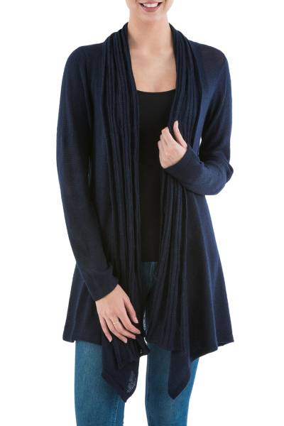 Cardigan sweater, 'Navy Waterfall Dream' - Long Sleeved Navy Blue Cardigan Sweater from Peru