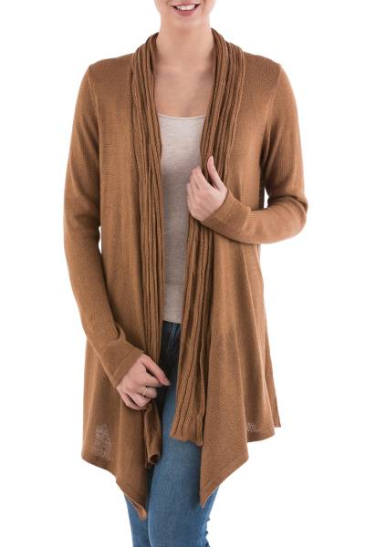 Long Sleeved Brown Cardigan Sweater from Peru - Copper Waterfall ...