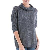 Pullover sweater, 'Evening Flight in Grey'