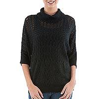 Pullover sweater, 'Evening Flight in Black'
