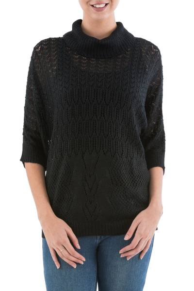 Pullover sweater, 'Evening Flight in Black' - Black Pullover Sweater with Three Quarter Length Sleeves