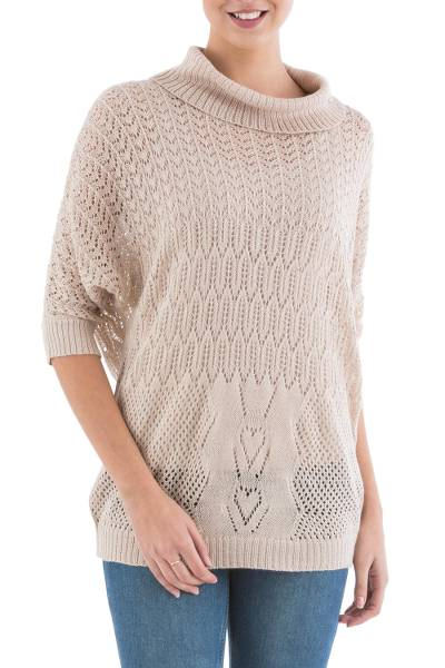 Pullover sweater, 'Evening Flight in Beige' - Beige Pullover Sweater with Three Quarter Length Sleeves