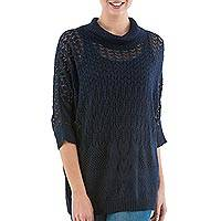 Pullover sweater, 'Evening Flight in Navy' - Navy Pullover Sweater with Three Quarter Length Sleeves