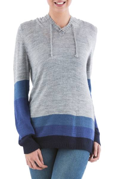 Hoodie sweater, 'Blue Imagination' - Blue and Grey Striped Hoodie Sweater from Peru
