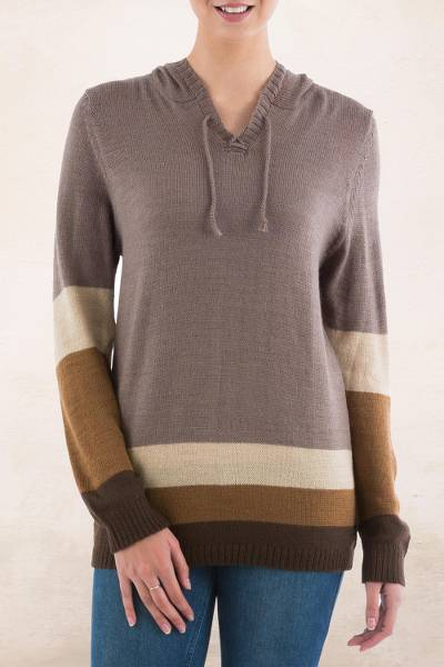 Hoodie sweater, 'Brown Imagination' - Brown Striped Hoodie Sweater from Peru
