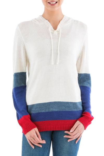 Hoodie sweater, 'Ivory Imagination' - Ivory Hoodie Sweater with Blue and Red Stripes