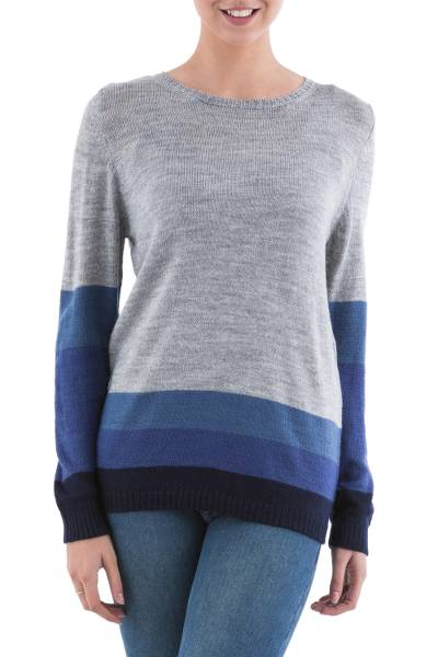 Pullover sweater, 'Imagine in Blue' - Blue and Grey Striped Pullover Sweater from Peru