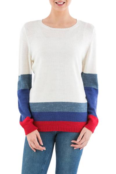 Pullover sweater, 'Imagine in Ivory' - Ivory Pullover Sweater with Blue and Red Stripes