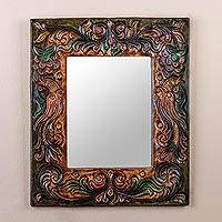 Cedarwood and leather mirror, 'Enchanted Reflection' - Hand Made Cedarwood and Leather Mirror from Peru