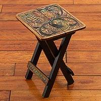 Leather embossed wood folding stool, 'Square Paradise Bird'