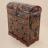 Cedarwood and leather jewelry chest, 'Plumed Paradise'