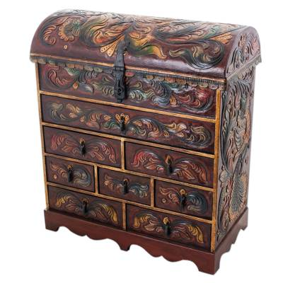 Cedarwood and leather jewelry chest, 'Plumed Paradise' - Cedarwood and Leather Jewelry Box with Bird Motifs from Peru