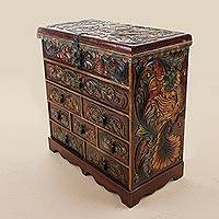 Cedarwood and leather jewelry chest, 'Plumed Retreat' - Peruvian Cedar and Leather Jewelry Box with Bird Motifs
