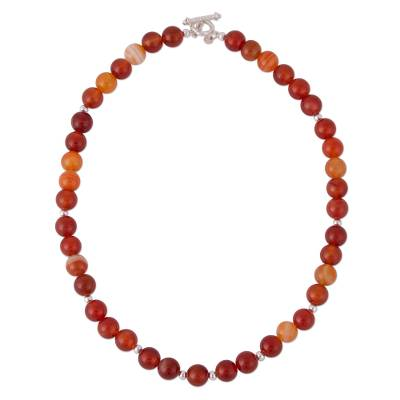 Carnelian beaded necklace, 'Carnelian Beauty' - Artisan Crafted Carnelian Necklace from Peru