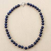 Lapis lazuli and silver beaded necklace, 'Midnight Blue Beauty'