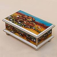 Wood decorative box, 'Land Tortoise'