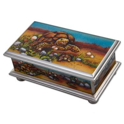 Wood decorative box, 'Land Tortoise' - Hand Painted Tortoise Wood Decorative Box from Peru