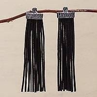 Sterling silver and leather waterfall earrings, 'Black Falls' - Black Leather and Sterling Silver Waterfall Earrings Peru