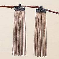 Sterling silver and leather waterfall earrings, 'Beige Falls' - Beige Leather and Sterling Silver Waterfall Earrings Peru