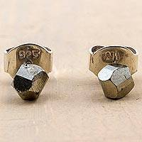 Pyrite stud earrings, 'Falling Meteorites' - Pyrite and Sterling Silver Stud Earrings from Peru