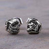 Sterling silver stud earrings, 'Modern Tides' - Sterling Silver Oxidized Stud Earrings from Peru 925 Jewelry