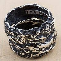Sterling silver band ring, 'Modern Fantasy' - Sterling Silver Oxidized Band Ring from Peru