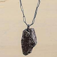 Pyrite pendant necklace, 'Falling Meteor' - Hand Made Pyrite and Sterling Silver Pendant Necklace Peru