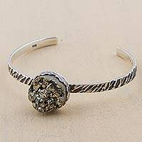 Pyrite cuff bracelet, 'Huayna Picchu Mountain' - Sterling Silver and Pyrite Cuff Bracelet from Peru