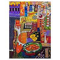 'Someone Is Watching Me' - Cubist Style Painting Multicolor Abstract Art from Peru