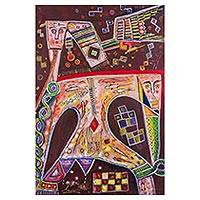 'Wildlife' - Cubist Painting in Maroon from Peru