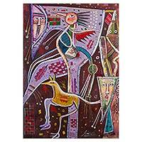 'Myth of the Hummingbird' - Cubist Painting of a Hummingbird in Lavender and Maroon Peru