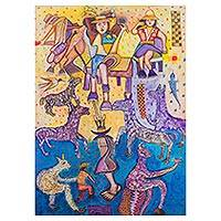 'In Harmony' - Cubist Painting of Llamas and People from Peru