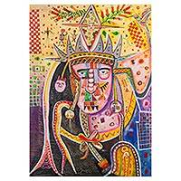 'Face' - Multicolored Cubist Painting of a Face from Peru