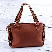 Cotton accent leather handbag, 'Spice Landscape' - Cotton Accent Leather Handbag in Spice from Peru