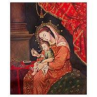 'The Child's Supper' - Mary and Baby Jesus Painting Peruvian Religious Art