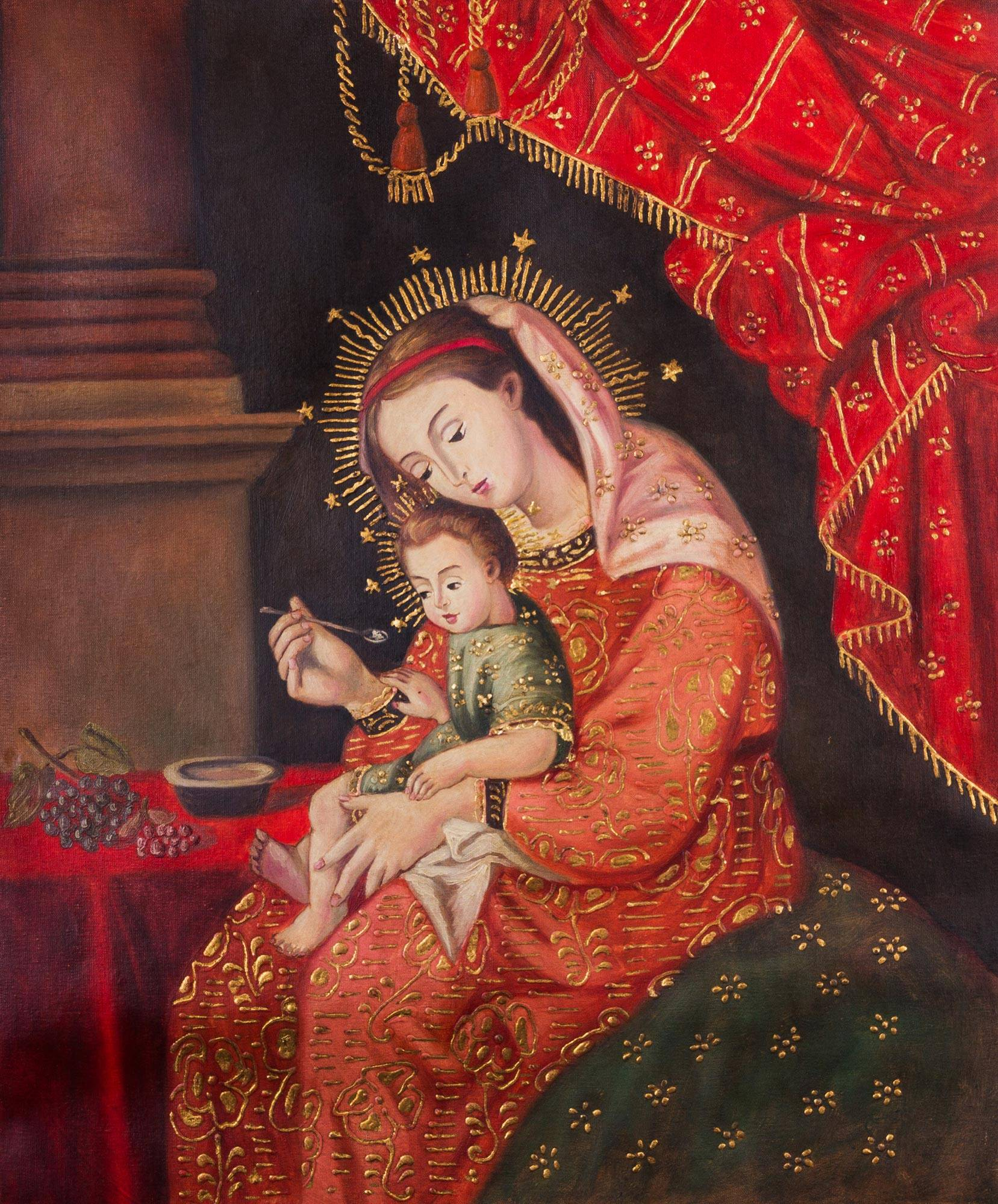 Kiva Store Mary And Baby Jesus Painting Peruvian