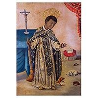 'St Martin of Porres' - Portrait Painting of St Martin de Porres Peru Religious Art
