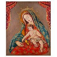 'Our Lady of the Little Bird' - Religious Art Colonial Replica Painting of Mary and Jesus