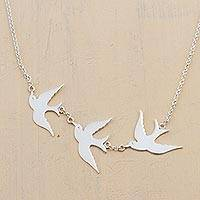 Silver pendant necklace, 'Three Doves' - Silver Pendant Necklace with 3 Birds from Peru