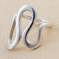 Silver cocktail ring, 'Abstract Waves' - Andean Artisan Crafted Silver Cocktail Ring with Wave Motif