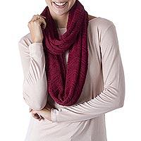 100% alpaca infinity scarf, 'Claret Comfort' - Hand Crocheted 100% Alpaca Infinity Scarf in Claret Red