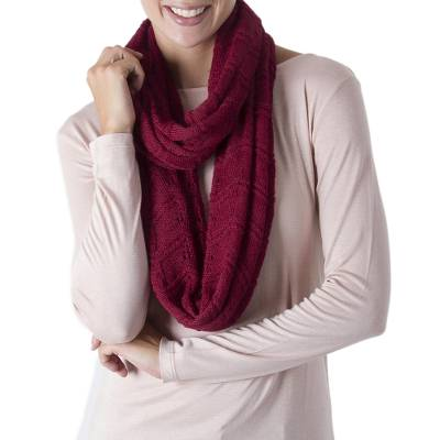 Hand Crocheted 100% Alpaca Infinity Scarf in Claret Red